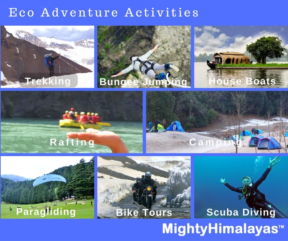 Adventure activities river rafting bungee jumping camping in rishikesh trekking in himalayas paragliding bike tours himachal utaarakhand scuba diving andaman Goa House boats in Kerala