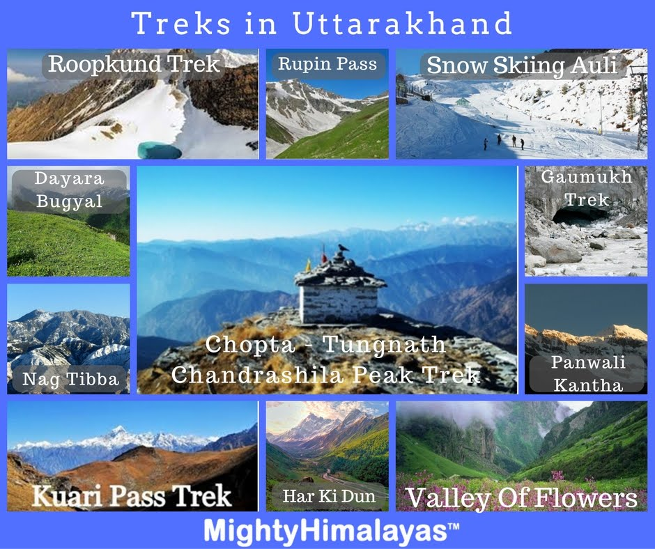 treks in uttarakhand Kuari Kuwari Pass trek, Chopta tungnath Chandrashila trek deoria tal Dayara Bugyal Har Ki dun Nag tibba Gaumukh Roopkund Panwali kantha Bali Pass Rupin Pass Valley Of flowers Snow Skiing in Auli Rishikesh rafting by Mighty Himalayas mhetclub